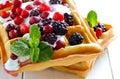 Belgian waffles with yogurt and berries breakfast freshly baked Royalty Free Stock Photography