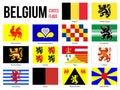 Belgium All Region & Provinces Flag Vector Illustration on White Background. Flags of Belgium