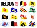 Belgium All Region & Provinces Flag Waving Vector Illustration on White Background. Flags of Belgium