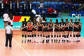 Belgium anthem the national team during the before the match dominican republic at the world cup volley women at bari in Stock Image