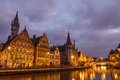 Belgium gent ghent december the historic center of embankment graslei former center of the medieval harbor Royalty Free Stock Photo