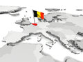 Belgium on map of Europe Stock Photos