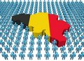 Belgium map flag with many people Royalty Free Stock Image