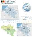 Belgium maps with markers set of the political and symbols for infographic Stock Photos