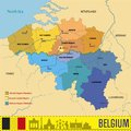 Belgium political vector map with regions Royalty Free Stock Photo