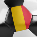 Belgium soccer ball close up view of a with the belgian flag on it Stock Photography
