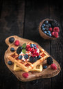 Belgium waffles with fruits and ice cream Royalty Free Stock Photo