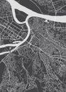 Belgrade city plan, detailed vector map Royalty Free Stock Photo