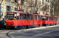 Belgrade red tram trolley carriages in sunlight serbia march two wagons of s public transport electric trams moving down a street Royalty Free Stock Images
