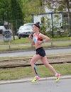 BELGRADE, SERBIA - APRIL 22: An unidentified woman runs in 30th Belgrade Marathon on April 22, 2017