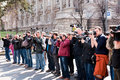 Belgrade serbia march journalists walk honor years death serbian prime minister zoran djindjic march belgrade serbia Stock Photography