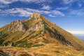 Belianske tatry picturesque mountain peak of in slovakia on sunny autumn day Royalty Free Stock Photography