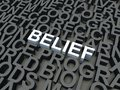 Belief word in white salient among other keywords concept in grey d render illustration Stock Photo