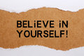 Believe in yourself torn paper with headline text Royalty Free Stock Image