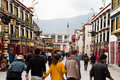 Believer there are many believers paying respects to the jokhang temple everyday from everwhere in tibet Stock Images