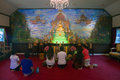 Believers pray in a wat saket temple bangkok august on august bangkok nearly of thailand s population is buddhist of the Royalty Free Stock Image