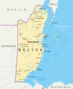 Belize political map of with the capital belmopan national borders most important cities rivers and lakes vector illustration with Stock Photos