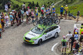 Belkin team technical car in pyrenees mountains col de pailheres france july of procycling climbing the road to col de pailheres Stock Photos
