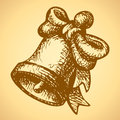 Bell with a bow. Vector drawing Royalty Free Stock Photo