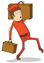 Bell boy with suitcases Royalty Free Stock Photography