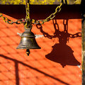 Bell in a buddhist temple pokhara nepal Stock Photo