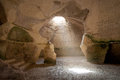 Bell cave beit govrin israel located at photo taken from inside with ray of light falling from above Stock Photography