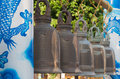 Bell with dragon pillar in belfry at thai temple Royalty Free Stock Photo