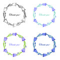 Bell flower isolated on white background, hand drawn doodle wreath, Collection round frame with space for text,Vector