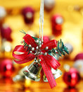Bell hanging christmas decoration background Stock Images