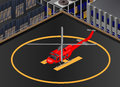 Bell helicopter isometric view of a on the roof of a building Royalty Free Stock Images