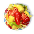 Bell peppers on plate isolated on white background with path Stock Photo