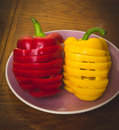 Bell peppers. Red and yellow. Royalty Free Stock Photo