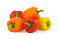 Bell peppers  on white with clipping path Stock Images