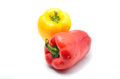 Bell peppers yellow and red isolated on white background Stock Photography