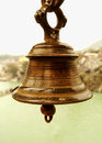The bell of religious liberation and salvation image a ancient metallic rusted often denoted as symbol freedom peace in hindu Stock Image