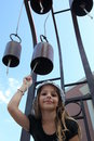 Bell Ringing Girl Stock Image