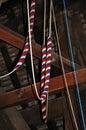 Bell ringing ropes inside st marys church tower pembridge herefordshire england uk western europe Royalty Free Stock Images