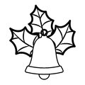 bell silhouette with christmas leaves Royalty Free Stock Photo