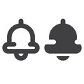 Bell thick line and solid icon, outline and filled vector sign