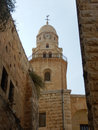 Bell tower abbey of the dormition jerusalem israel view hagia maria sion on mount zion in Royalty Free Stock Image