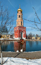 The bell tower of the ascension of David Desert Chekhov district of Russia, historical and cultural monuments of Royalty Free Stock Photo