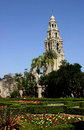 Bell tower at balboa park the san diego Stock Photo