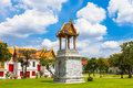 bell tower in Benjamaborphit temple Royalty Free Stock Photo