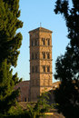 Bell tower of a church low angle view santa francesca romana rome lazio italy Stock Images