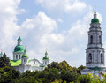 Bell tower and church monastery ukraine the mgar spaso preobrezhanskiy savior transfiguration Stock Image