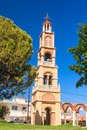 The bell tower of the church in the village of Pilon (Pylonas) Royalty Free Stock Photo