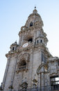 Bell tower with a clock beautiful in santiago de compostela Stock Image