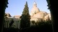Bell tower and cloister campanile e chiostro of monastero dei benedettini catania Stock Photo