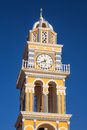 Bell tower details of The Catholic Cathedral in Fira, Santorini Royalty Free Stock Photo