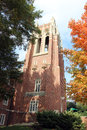 Bell tower among fall trees boatwright memorial library richmond virginia usa Royalty Free Stock Photo